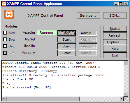 Screenshot showing the XAMPP control panel and Apache running
