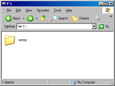 Screenshot showing xampp folder in the root of a USB drive