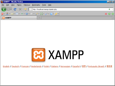 Screenshot showing the XAMPP splash screen